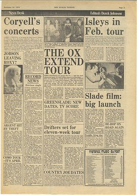 John Entwistle OX Slade ISLEY BROTHERS Vintage Music Press article/cutting/clipping 1974