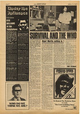 John Entwistle RIGOR MORTIS Vintage Music Press Article/cutting/clipping 1973