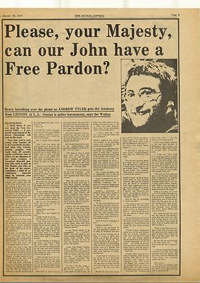 John Lennon Free Pardon Interview Vintage Music Press Article/cutting/clipping 1974