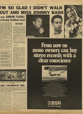 Johnny Nash Live review Vintage Music Press article/cutting/clipping 1969