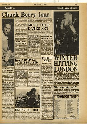 Johnny Winter CHUCK BERRY MOTT FRIPP Vintage Music Press Article/cutting/clipping 1974