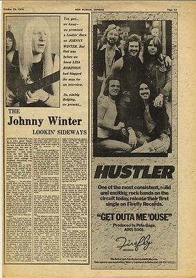 Johnny Winter page Interview Vintage Music Press article/cutting/clipping 1974