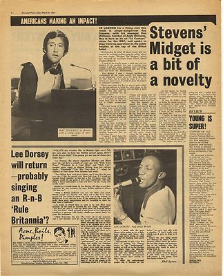 LEE DORSEY Interview RAY STEVENS Vintage Music Press Article/cutting/clipping 1971