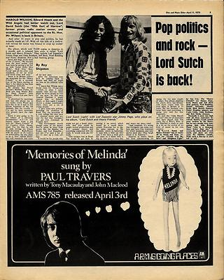LORD SUTCH Interview JIMMY PAGE Pic Vintage Music Press article/cutting/clipping 1970