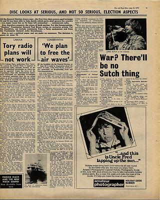 LORD SUTCH PIRATE RADIO Vintage Music Press article/cutting/clipping 1970