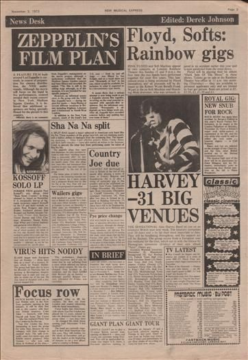 Led Zeppelin Alex Harvey News Music Press Article/cutting/clipping 1973