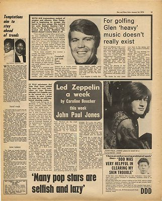 Led Zeppelin JOHN PAUL JONES Interview Vintage Music Press Article/cutting/clipping 1970