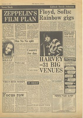 Led Zeppelin Pink Floyd Alex Harvey FOCUS Slade Music Press article/cutting/clipping 1973
