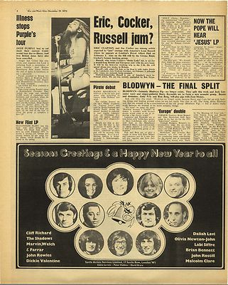 Leon Russell BLODWYN PIG Vintage Music Press Article/cutting/clipping 1970