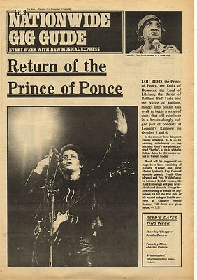 Lou Reed Return of Prince of ponce Vintage Music Press Article/cutting/clipping 1973