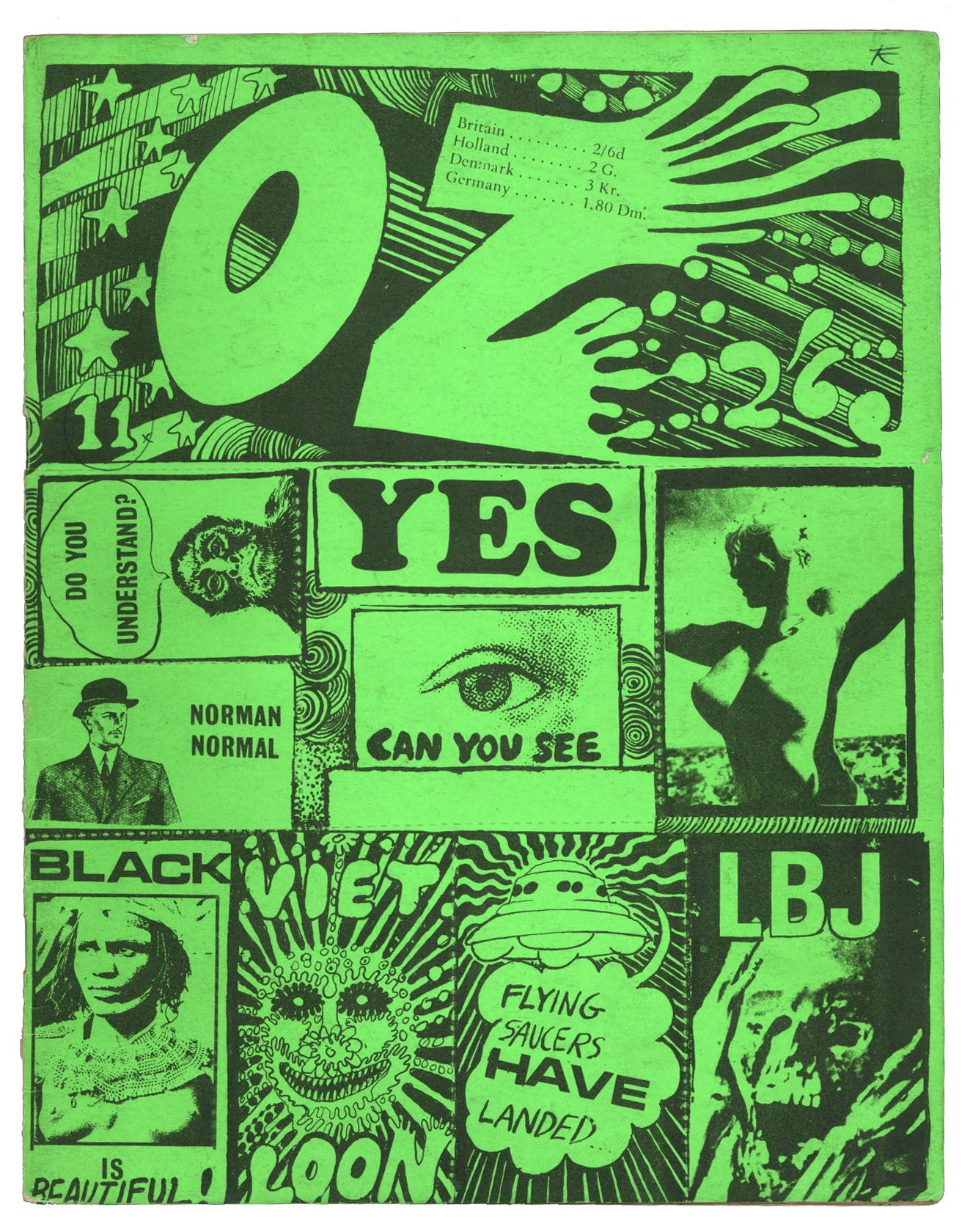 OZ Magazine No 11. April 1968 Dayglo Martin Sharp sticker cover