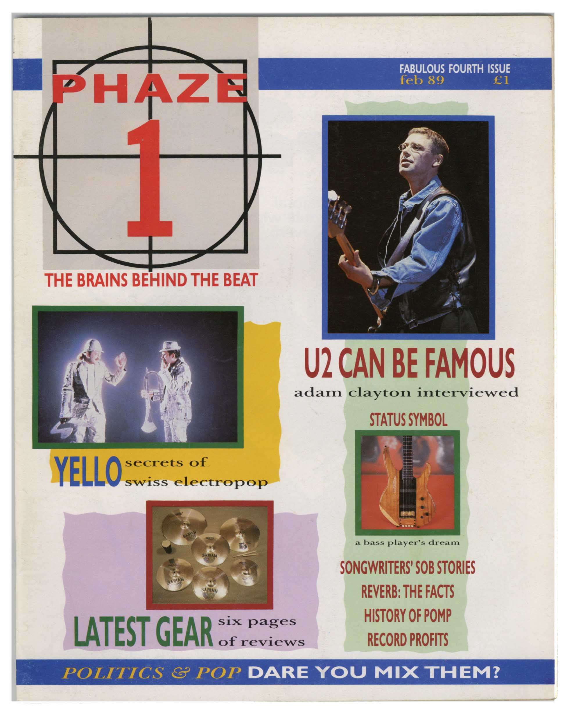Phaze 1 Magazine February 1989 U2 Adam Clayton Interview Yello Billy Bragg Beach Boys