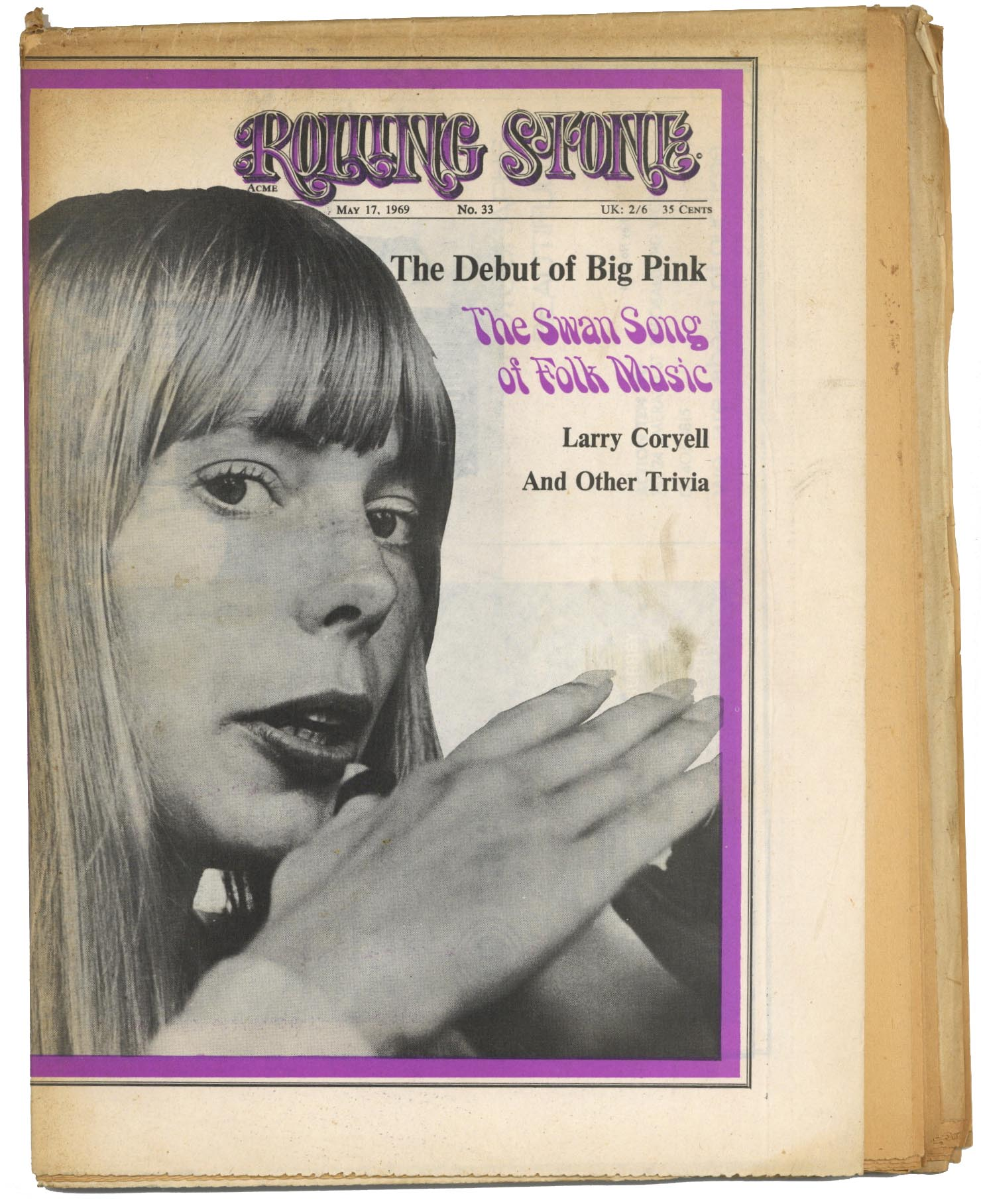 Rolling Stone Magazine No 33, 17 May 1969 The Band/Big Pink Joni Mitchell Larry Coryell