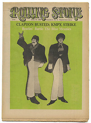 Rolling Stone Magazine No 9, 27 April 1968 Beatles Traffic Byrds Zappa Moby Grape Clapton Bust