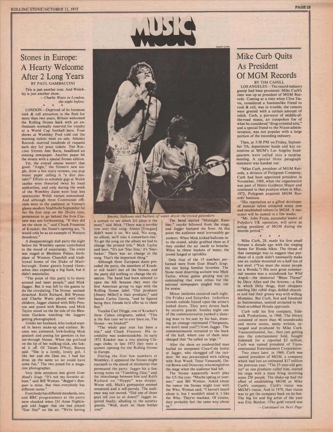 Rolling Stones Stones in Europe Music Press Article/cutting/clipping 1973