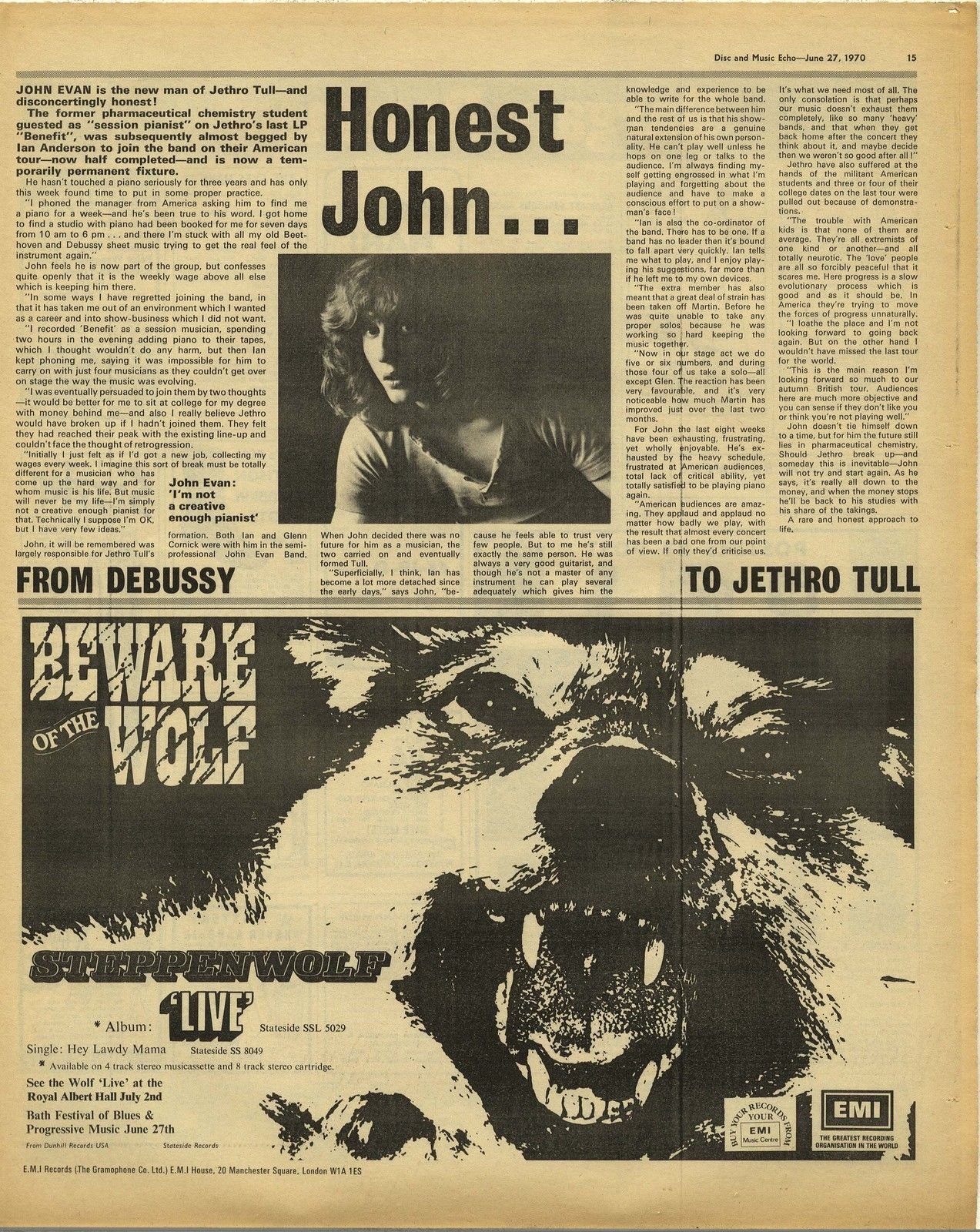 STEPPENWOLF Live LP advert Jethro Tull Article Original Vintage music Press  cutting/clipping 1970