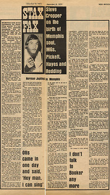 STEVE CROPPER Interview Vintage Music Press Article/cutting/clipping 1972