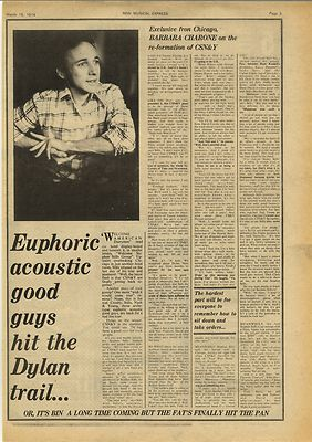 Stephen Stills CSN&Y Vintage Music Press Article/cutting/clipping 1974