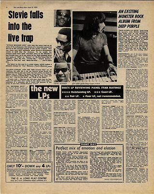 Stevie Wonder Deep Purple LP Reviews Vintage Music Press article/cutting/clipping 1970