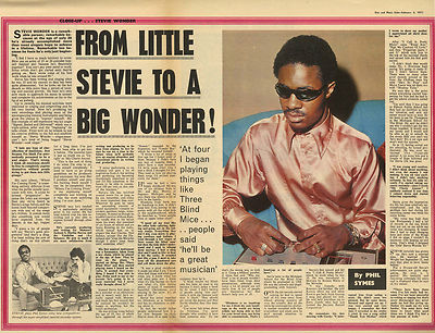 Stevie Wonder Interview Vintage Music Press Article/cutting/clipping 1971