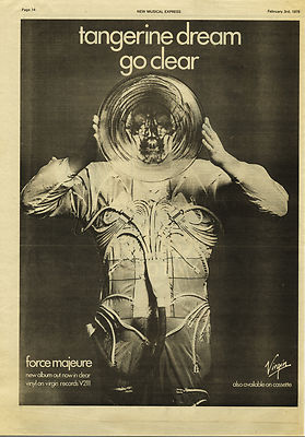 Tangerine Dream Force Majeure Poster Size vintage music press advert  cutting/clipping 1979