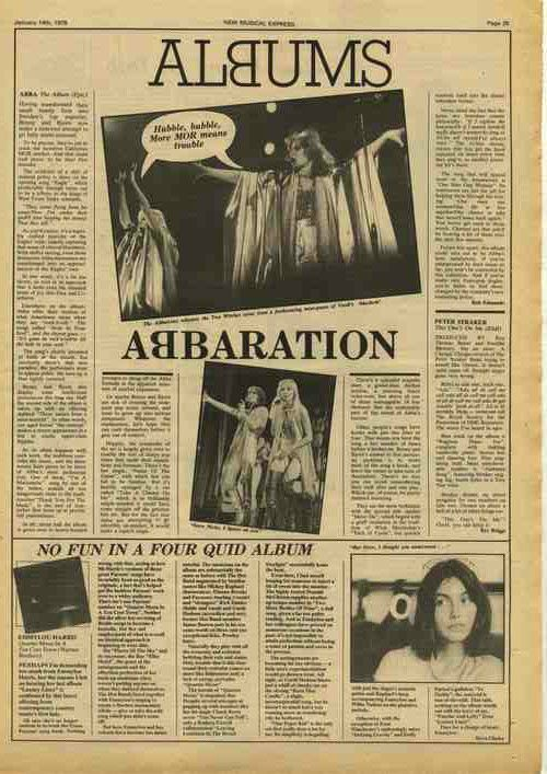 ABBA The Album LP review KEITH HUDSON Brand Press article cutting/clipping 1978
