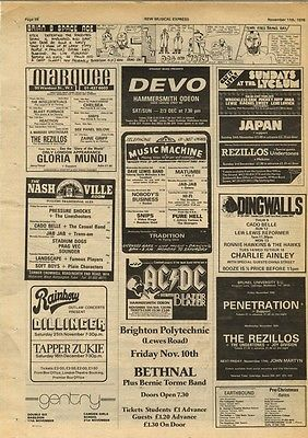 AC/DC DEVO JAPAN REZILLOS DILLINGER gig page article press cutting/clipping 1978