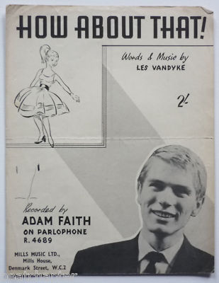 ADAM FAITH How about that Rare Vintage Sheet Music