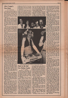 ALICE COOPER Cooper's Party original Vintage Music Press article 1971
