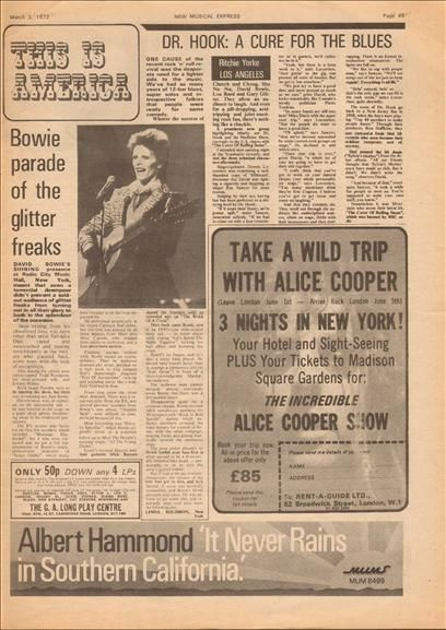 Alice Cooper David Bowie Music Press Article cutting/clipping 1973