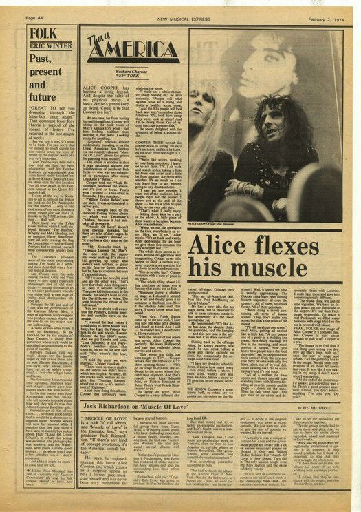Alice Cooper Flexes his Muscle article press cutting/clipping 1974