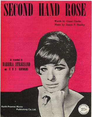 BARBRA STREISAND Second Hand Rose Original UK Sheet Music from 1965