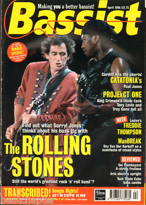 BASSIST Magazine April 1998 Rolling Stones Tony Levin King Crimson Projekt