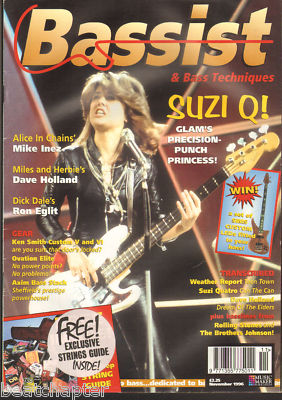 Bassist Magazine November 1996 Suzi Quatro Ron Eglit Mike Inez Dave Holland Weather Report