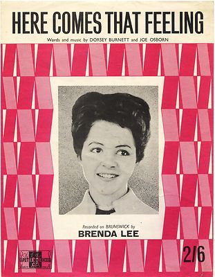 BRENDA LEE Here comes that feeling Original UK Sheet Music 1961