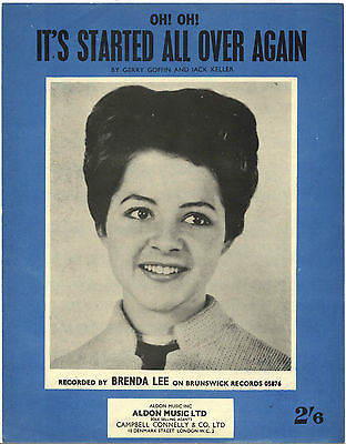 BRENDA LEE It's started all over again Rare Original UK Sheet Music