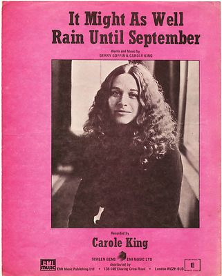 CAROLE KING Might as well rain until September Original UK Sheet Music 1962