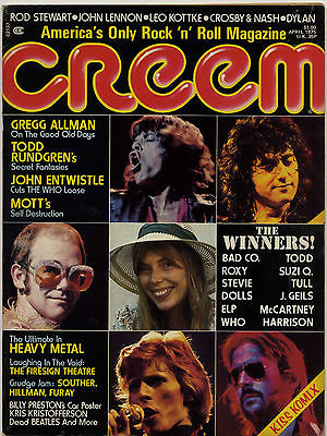 Creem Magazine April 1975 Todd Rundgren Mott the Hoople Who Entwistle John Lennon Bob Dylan