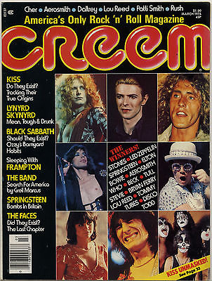 Creem Magazine March 1976 Kiss Lynyrd Skynyrd Black Sabbath Rush Bruce Springsteen Faces