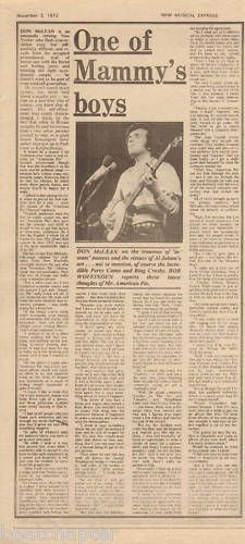 Don McLean One of Mammy's boys Music Press Article cutting/clipping 1973