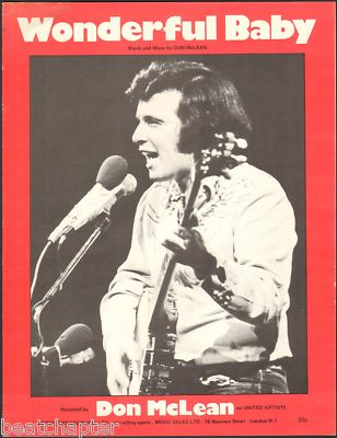 DON McLEAN Wondeful Baby Vintage Sheet Music