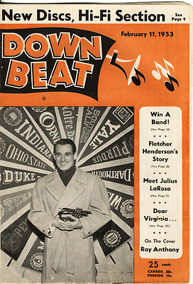 DOWN BEAT Magazine 2/1953 Ray Anthony Fletcher Henderson Julius LaRosa