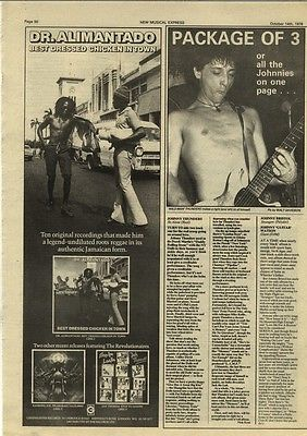 DR ALIMANTADO advert JOHNNY THUNDERS Review article press cutting/clipping 1978