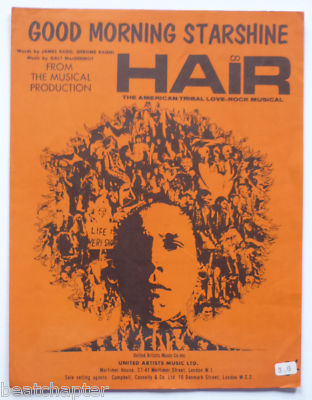 HAIR Good morning starshine Rare Vintage Sheet Music