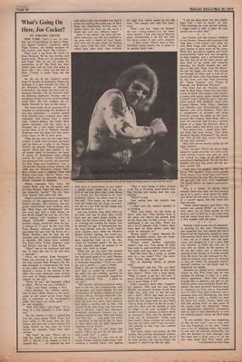 Joe Cocker What's going on here? 2 page original Vintage Music Press article 1972