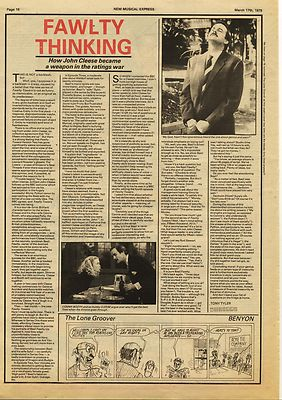 JOHN CLEESE Fawlty Thinking Interview Press article/cutting/clipping 1979