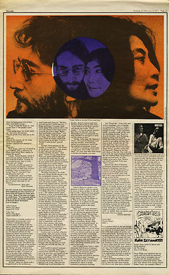 John Lennon & Yoko Ono Plastic Ono band LP Reviews article/cutting/clipping 1971