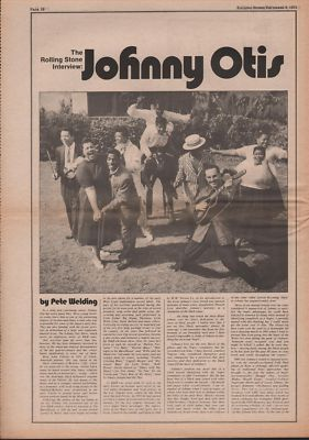 JOHNNY OTIS 5 page Interview original Vintage Music Press article 1971