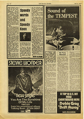 JON HISEMAN TEMPEST music press article/cutting/clipping 1973