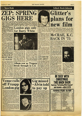 Led Zeppelin FRUUPP GARY GLITTER Music Press article/cutting/clipping 1974